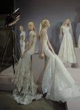 Brud- klänningar på skyltdockorna ses på ett rostat bröd till Tony Ward: En special brud- samling Royaltyfri Fotografi