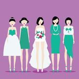 Brud med brudtärnor royaltyfri illustrationer