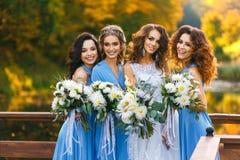 Brud med brudtärnor Royaltyfria Bilder