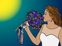 Brud med en bukett av blommor royaltyfri illustrationer