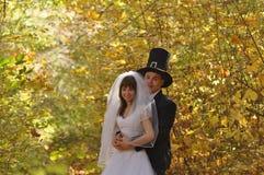 Brud med hans brudgum Arkivfoto