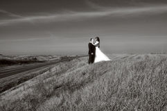 Brud med hans brudgum Fotografering för Bildbyråer