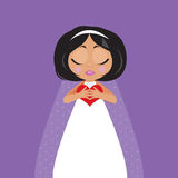 Brud med hjärta i henne händer Royaltyfria Bilder