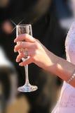 Brud med wineexponeringsglas Arkivbild