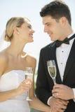 Brud och brudgum With Champagne Flutes Holding Hands Outdoors Arkivbild