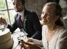 Brud och brudgum Cling Wineglasses med vänner på att gifta sig Recept Royaltyfria Foton