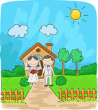 Brud och brudgum framme av det lilla huset royaltyfri illustrationer