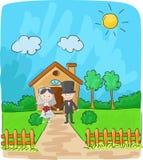 Brud och brudgum framme av det lilla huset vektor illustrationer