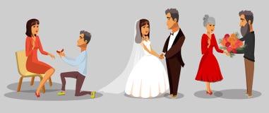 Brud- och brudgum-, fru- och makeCliparts uppsättning vektor illustrationer