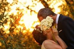 Brud och brudgum i en härlig ljus innehavkram Royaltyfria Foton