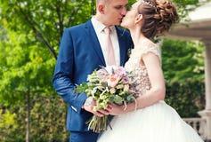 Brud och brudgum i en parkera Kyssande parnygifta personer brud och brudgum på bröllop i naturgräsplanskog kysser fotoståenden W Arkivbilder