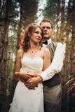 Brud och brudgum i skogen av granar royaltyfri foto