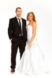 Brud och brudgum i studio Royaltyfri Fotografi