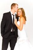Brud och brudgum i studio Fotografering för Bildbyråer