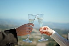 Brud och brudgum med champagneexponeringsglas Arkivbilder
