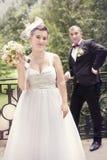 Brud och brudgum, på bröllopdag Royaltyfria Bilder