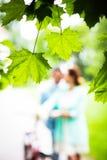 Brud och brudgum på bröllopdagen som utomhus går på vårnaturen arkivfoto
