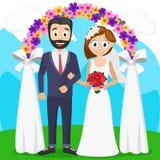 Brud och brudgum på en ceremoni nära bågen bröllop vektor illustrationer