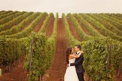 Brud och brudgum på en grön kall vingård för regnig dag Arkivfoto