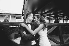 Brud och brudgum som ömt kysser Arkivfoto
