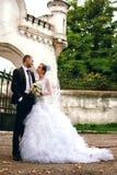 Brud och brudgum som poserar nära slott Royaltyfri Fotografi