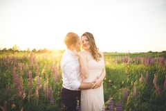 Brud och brudgum som rissing på solnedgången på ett härligt fält med blommor, romantiskt gift par royaltyfri bild
