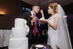 Brud och brudgum som tillsammans smakar deras stilfulla bröllopstårtapiec royaltyfria bilder