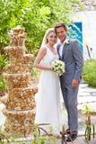 Brud och brudgum At Wedding Ceremony Arkivbild