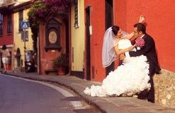 Brud- och brudgumförälskelse Arkivbild