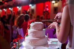 Brud- och brudgumhållen baktalar och klippte bröllopstårtan fotografering för bildbyråer