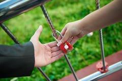 Brud- och brudgumhållen låser Fotografering för Bildbyråer