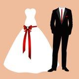 Brud- och brudgumkläderna Royaltyfri Bild