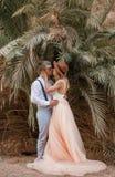 Brud- och brudgumställning, kram och kyss på bakgrund av palmträd Arkivfoto