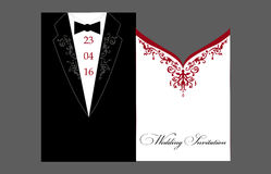Brud- och brudgumWedding inbjudan Arkivfoton