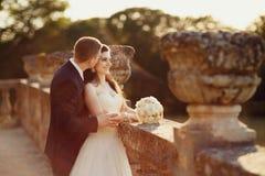 Brud och hennes nya make som går i guld- höstnatur Fotografering för Bildbyråer