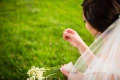 Brud på hennes bröllopdag med lycklig förmögenhetväxt av släktet Trifolium Arkivfoton