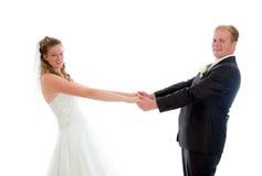Brud- par framme av vit bakgrund Fotografering för Bildbyråer