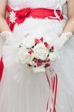 Brud- röd bukett Royaltyfria Bilder