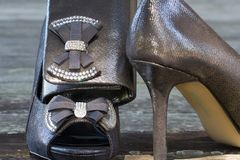 Brud- skor och kopplinghandväska Fotografering för Bildbyråer