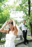 brud som förbereder bröllop Royaltyfria Bilder