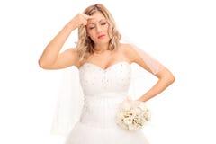 Brud som har en huvudvärk Arkivfoton