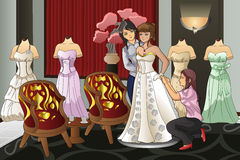 Brud som passar hennes bröllopkappa Royaltyfri Bild