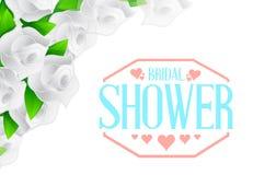 brud- tecken för färg för vita rosor för dusch Fotografering för Bildbyråer