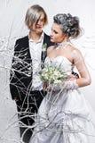 brudbrudgum Arkivfoto