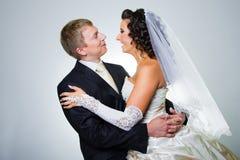 brudbrudgum som att gifta sig bara Arkivfoto