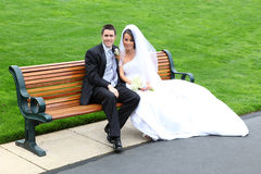 brudbrudgumbröllop Arkivfoto