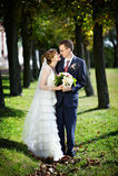 brudbrudgummen går bröllop Arkivbild