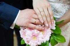 brudbrudgummen hands att gifta sig för cirklar Royaltyfri Bild