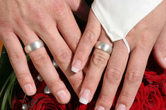 brudbrudgummen hands holdingen Royaltyfri Bild