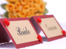 brudbrudgumnamecards Royaltyfri Foto
